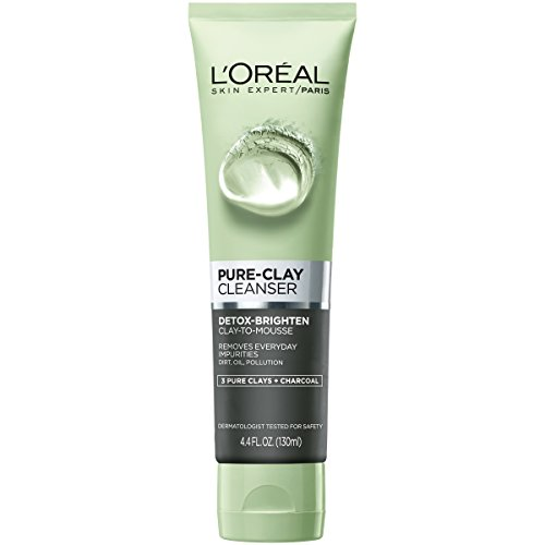 L'Oreal Paris Skincare Pure-Clay Facial Cleanser with Charcoal for Dull and Tired Skin to Detox & Brighten, Face Wash for All Skin Types, 4.4 fl. oz.