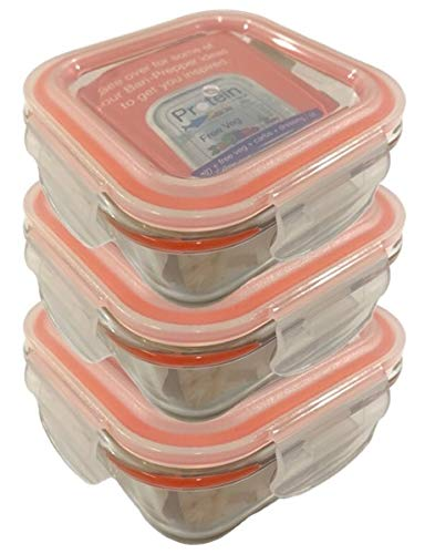 Bariatric Portion Control Prep Containers 3pk, Weight Loss After Surgery, Borosilicate Glass. Health Eating Practical Post-Surgery Meal Prep, Gastric Sleeve, Bypass Or Band With Protein, Carbs & Veg