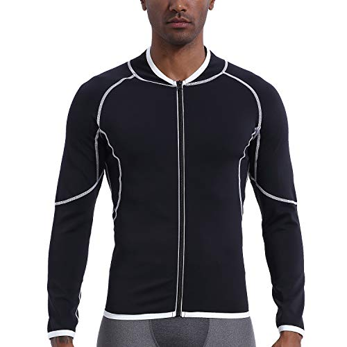 Men Sweat Sauna Suit Workout Shirt Weight Loss Body Shaper Fitness Slimming Jacket Gym Top Clothes Shapewear Long Sleeve Black