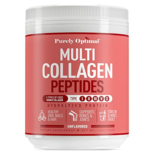Premium Multi Collagen Powder - 5 Types of Hydrolyzed Collagen Peptides w/Biotin, Hair Skin and Nails Vitamins (Max Absorption) Bone & Joint Support - Types I,II,III,V,X - Easy Mix Unflavored (16 oz)
