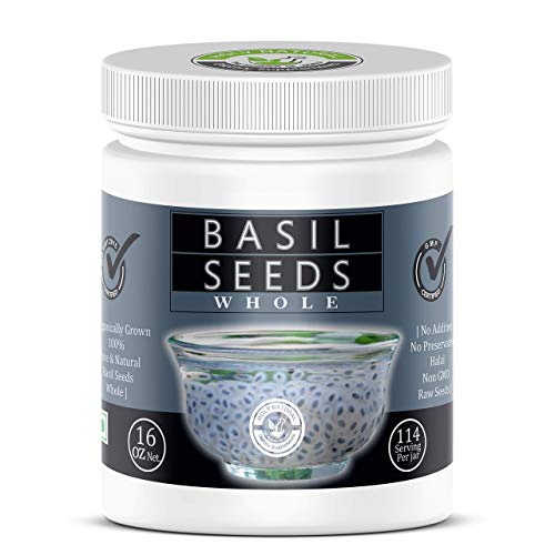 Basil Seed- 1lb (Sabja Seeds / Tukmaria Seeds -16 Oz), 100% Clean, NON GMO, NO PRESERVATIVE, RAW, Organically Grown