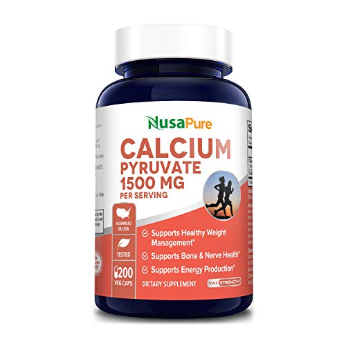 Calcium Pyruvate 1500 mg 200 Vegetarian Caps (Non-GMO & Gluten Free) Supports Healthy Weight Management, Energy Production and Bone Health - 750mg Per Caps