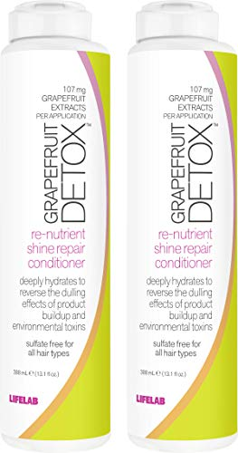 Grapefruit Detox Shine Repair Conditioner | Conditions and Locks in Moisture While Absorbing Impurities (Pack of 2)