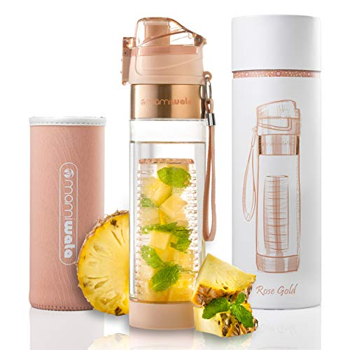 MAMI WATA Fruit Infuser Water Bottle – Beautiful Gift Box – Unique Stylish Design - Free Fruit Infused Water Recipes eBook Insulating Sleeve – 24oz