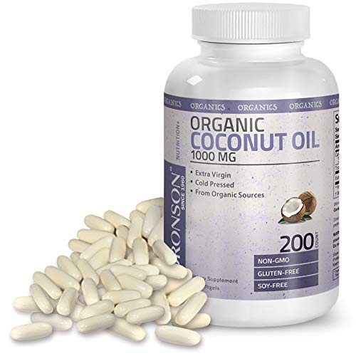Bronson Organic Coconut Oil 1000 mg Capsules - Healthy Hair Skin Nails & Weight – Extra Virgin Cold Pressed, Unrefined Non GMO - Support Brain Function Blood Pressure Anti Aging – 200 Softgels