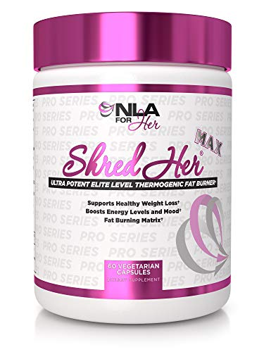 NLA for Her Shred Her Max - Thermogenic Fat Burner for Women - Raspberry Ketones, Caffeine, CLA, Konjac Root, Green Tea Extract, l-Carnitine - 30 Servings