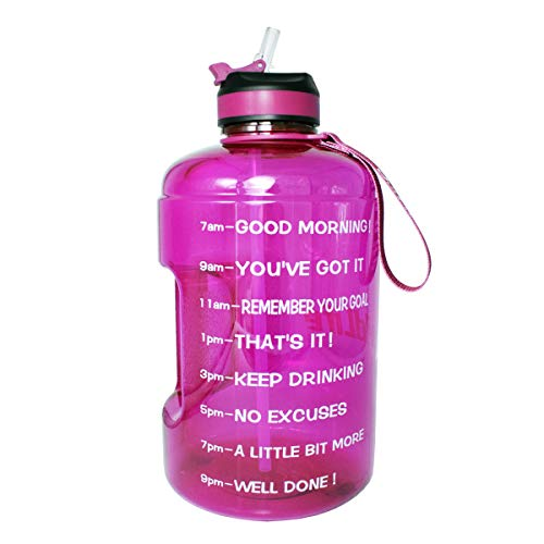 BuildLife Gallon Motivational Water Bottle with Time Marked to Drink More Daily and Nozzle,BPA Free Reusable Gym Sports Outdoor Large(128OZ) Capacity(Purple, 1 Gallon)