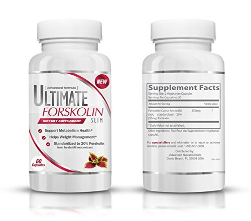 Ultimate Forskolin Slim - Natural Weight Loss Supplement & Appetite Suppressant - Promotes Natural Weight Loss - Fat Blocker - Curbs Cravings - 250mg Standardized 20% Forskolin (60 Capsules)