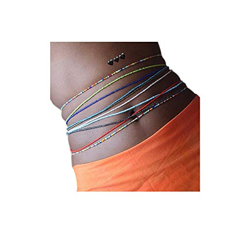 10 Pieces Jewelry Colorful Waist Bead Set Bohemia Bead Belly Chains Body Jewelry, Bead Waist Chain for Summer Sexy Bikini Chain Beach