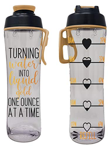 BPA Free Reusable Water Bottle with Time Marker - Motivational Fitness Bottles - Hours Marked - Drink More Water Daily - Tracker Helps You Drink Water All Day -Made in USA (Liquid Gold, 24 oz.)