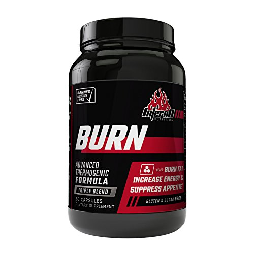 Inferno Nutrition Burn Triple Blend Fat Burner, Appetite Suppressant, Metabolism Support, 60 caps | Weight Loss Pill for Men & Women Increase Energy Burn Calories Lose Belly Fat Fast Best Diet Pill