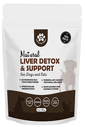 Dog Liver Detox Support, Milk Thistle for Dogs, Canine and cat Liver Support Powder Supplement Without Capsules, Pills - 4oz Bag