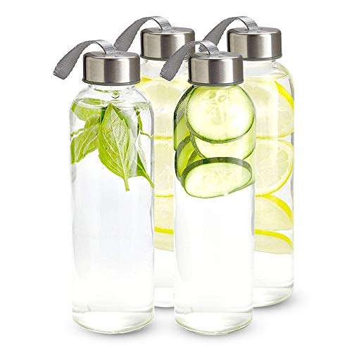 Kitchen Lux 16 oz. Glass Water Bottles - 4 Pack - Reusable Water Bottles with Airtight, Stainless Steel Lids + Bonus Carrying Strap & Nylon Water Bottle Protective Sleeves for Drinks & Shakes
