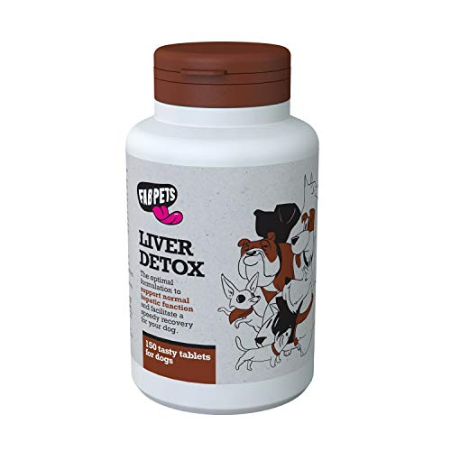 Dog Liver Support - Fab Pets Liver Detox - Boost Liver Function - Natural Vitamins and Antioxidants - Milk Thistle, Vitamin E, Dandelion Root, Blueberries Extract, Beta-Carotene - 150 Tasty Tablets