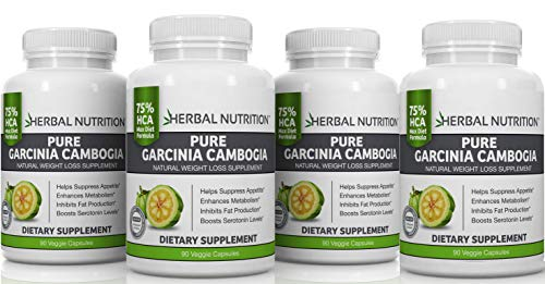 Pure Garcinia Cambogia Extract for Weight Loss Four 90 Count Bottles 75% HCA 1500mg Proven Diet Dosage 30% More Per Capsule MFD USA