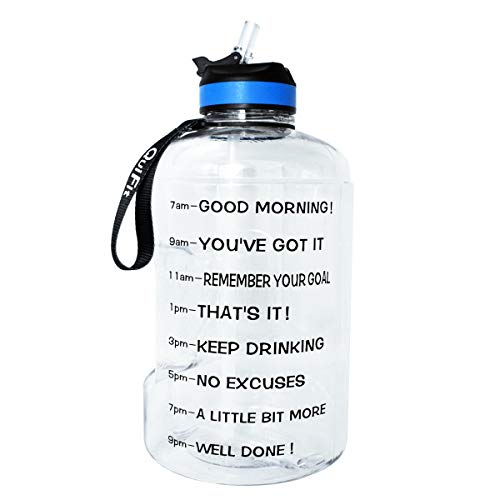 BuildLife Gallon Motivational Water Bottle with Time Marked to Drink More Daily and Nozzle,BPA Free Reusable Gym Sports Outdoor Large(128OZ) Capacity (Clear, 1 Gallon)