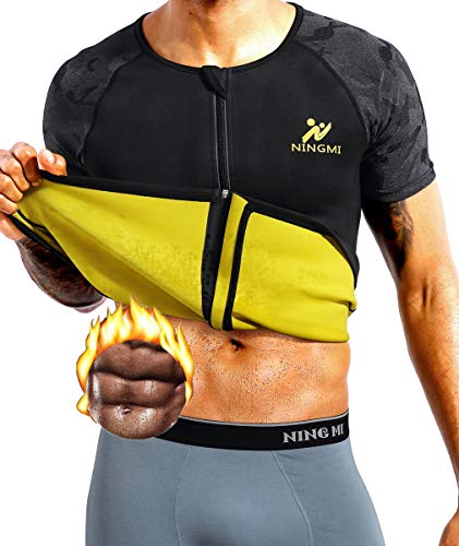 NINGMI Mens Neoprene Sauna Suits Sweat Top Weight Loss Body Shaper for Training Vest Workout Shirt Zipper Short Sleeve Black