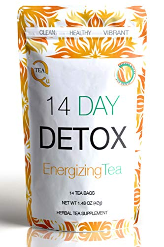 14 Day DETOX Tea from Qutea with GINGER & Papaya to boost your Natural Teatox Cleanse - taste the fusion of Green Tea, Rooibos and Oolong. DELICIOUS!