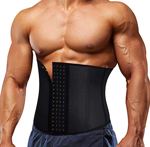 TAILONG Weight Loss Tummy Shaper Waist Trainer Corset for Men Body Slimming Workout Lumbar Support Trimmer (Black, M)