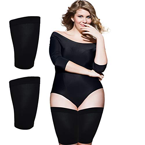 Thigh Slimmer Shapers For Women - Thigh Compression Sleeve To Help Tone Thighs - Slimming Thigh Wraps For Flabby Thighs - Helps Shape Upper Thighs Ideal Plus Size Women Weight Loss - ( Black )