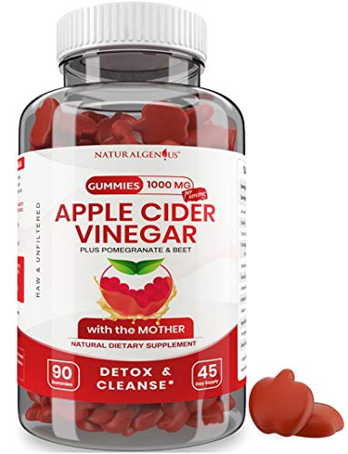 Vegan Apple Cider Vinegar Gummy - 2X Strength Gummies Option to Apple Cider Vinegar Capsules, Pills, Tablets - Detox Cleanse Weight Loss - ACV Gummy with Mother - Kids, Adults- 90 Non-Sticky Gummies