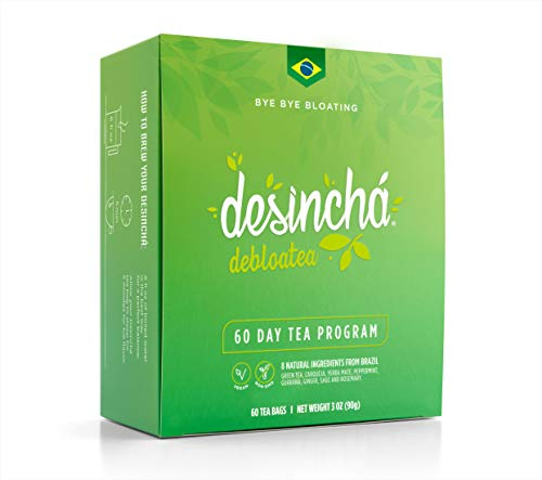Desincha Tea – 60 Day Supply - 100% Healthy Weight Loss Tea - Reduce Bloating, Detox, Increase Metabolism - Made with Natural Ingredients - #1 Tea Brand in Brazil