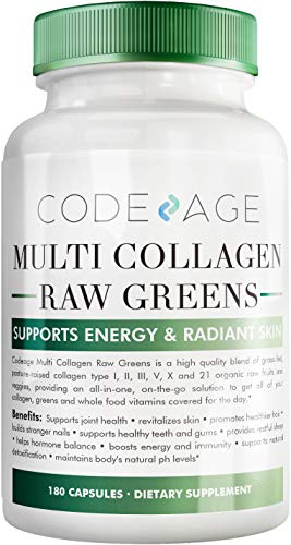 Codeage Multi Collagen Protein Capsules + Organic Greens Superfood - Fruits & Vegetables Pills Supplement - Grass Fed Collagen Peptides (TypesⅠ, Ⅱ, Ⅲ, Ⅴ & Ⅹ) - Hydrolyzed, Non-GMO - 180 Count