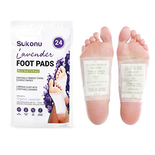 Sukonu Organic Bamboo Vinegar Natural Lavender Foot Pads with Premium Aroma - Soothing Adhesive Feet Patches (24 Units)