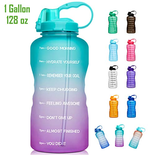 Giotto Large 1 Gallon/128oz Motivational Water Bottle with Time Marker & Straw, Leakproof Tritan BPA Free for Fitness, Gym and Outdoor Sports-Green/Pink Gradient