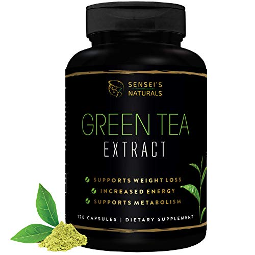 Green Tea Extract Supplement with EGCG 120 Capsules - Healthy Metabolism Booster, Weight Loss for Women & Men, Antioxidant Detox Benefits, Immune Support & Natural Caffeine Energy Supplement.