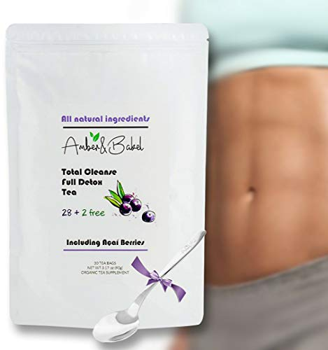 28 + 2 Free Day Total Cleanse, Full Detox Teatox Bags | Branded Spoon for Free | All Natural Herbal Ingredients + Dried Acai Berry | Weight Loss Tea | Immune Booster and Body Optimizer
