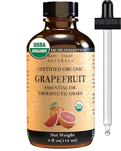 Organic Grapefruit Essential Oil (4 oz), USDA Certified by Mary Tylor Naturals, Therapeutic Grade for Stress Relief, Relaxation, Aromatherapy, Diffuser, Home