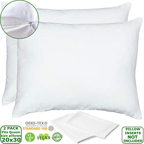 Bamboo Lyocell Pillow Cases - Set of 2 Zippered Pillowcases, White, Queen 20x30 Inches, Ultra Soft and Cooling Pillowcases Like Silk, Eco Friendly Pillow Shams, Wash in Cold Delicate Cycle Only