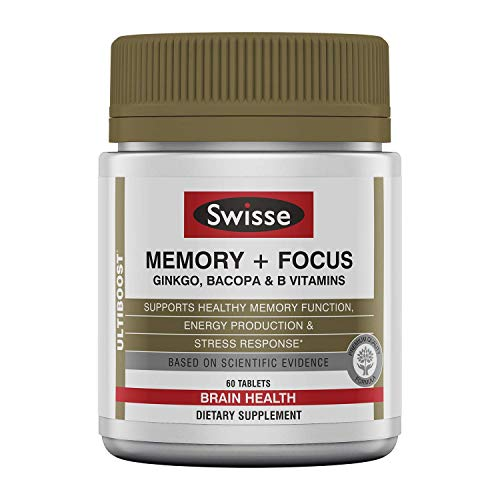 Swisse Ultiboost Memory + Focus Supplement   Ginkgo Biloba, Bacopa & B Vitamins to Support Brain Health, Mental Alertness, Concentration and Focus   60 Tablets