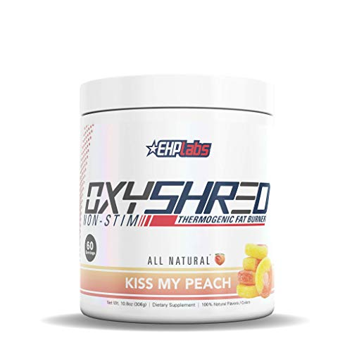 EHPLabs OxyShred |Non Stim| Thermogenic Fat Burner Boost Metabolism, Destroy Stubborn Fat Cells (60 Servings) (Peach)
