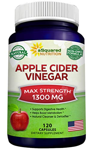 Apple Cider Vinegar Supplement (120 Capsules) - Extra Strength 1300mg - ACV Pills for Pure Weight Loss, Detox, Digestion & Immune Support - All Natural Apple Cider Cleanse & Immunity Booster