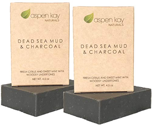 Dead Sea Mud Soap Bar Natural & Organic Ingredients. With Activated Charcoal & Therapeutic Grade Essential Oils. (Dead Sea Mud And Charcoal 2 Pack)