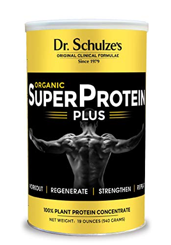 Dr. Schulze's | SuperProtein Plus | 100% Plant Protein Concentrate | Organic Powder Mix | Vitamin B-12 & Spirulina | Dietary Supplement | Build Strong Muscle | Enhance Workout Recovery | 19 Oz.
