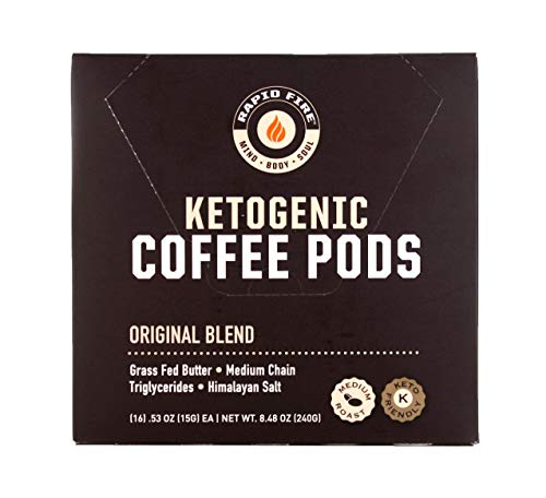 Rapidfire Rapid Fire Ketogenic High Performance Keto Coffee Pods, Supports Energy and Metabolism, Weight Loss, Ketogenic Diet 16 Single Serve K-Cup Pods,