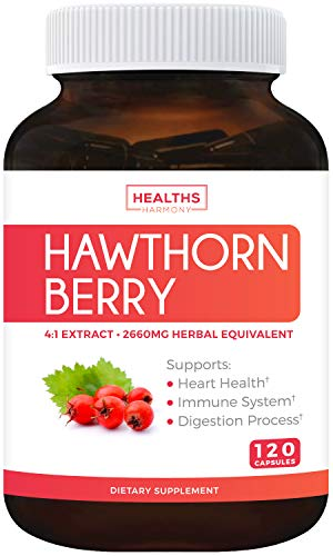Hawthorn Berry 4:1 Extract (120 Capsules) Supports Healthy Blood Pressure, Circulation, Heart Health & Immune System - Powerful Antioxidant Hawthorne Supplement