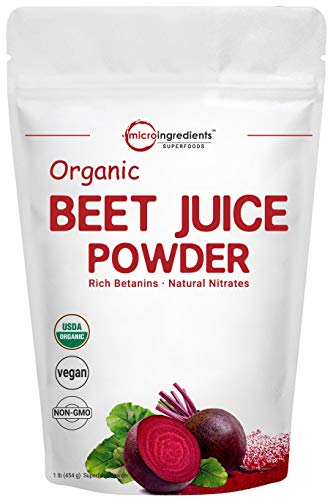 Organic Super Beet Juice Powder, 1 Pound (16 Ounce), Beet Pre-Workout Powder, Natural Nitrates for Energy & Immune System Booster, Best Superfoods and Flavor for Beverage and Smoothie, Water Soluble
