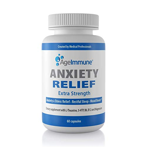 Anxiety Relief Supplement Complex with L-Theanine, 5-HTP, Vitamins B6, B12 and Magnesium. Quality Sleep Support and Mood Boost Formula. 60 Capsules.