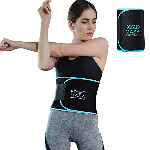 Waist Trimmer for Women,KOSMO MASA Waist Trainer for Weight Loss,Slimmer Sweat Belt for Men,Stomach Wrap Premium Exercise Band Body Reduced Fat Belly Strap,Includes Free Sample of Wristbands - XL Blue