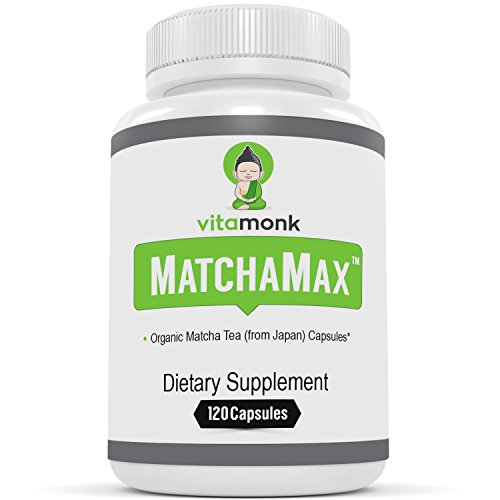 MATCHAMAX Organic Japanese Matcha Capsules - Pure Organic Matcha Green Tea Pills For Smooth Zen-Like Energy and Natural Mood Boost - Vegan Matcha Supplement Packed with Antioxidants - 60ct from Japan