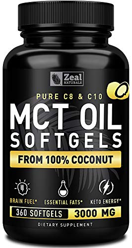 Pure MCT Oil Capsules (360 Softgels | 3000mg) 4 Month Supply MCT Oil Keto Pills w Unrefined Coconut Oil - C10 & C8 MCT Oil Coconut Oil Capsules - Keto Brain Fuel, Keto Energy, Octane Oil Ketosis Pills
