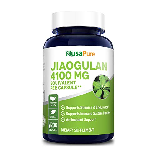 Jiaogulan 4100 mg Per Caps 200 Veggie Capsule (Extract 10:1, Non-GMO & Gluten-Free) Gynostemma Pentaphyllum Supports Stamina and Endurance* Supports Immune System Health*