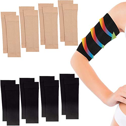 8 Pairs Arm Slimming Shaper Wrap, Arm Shaper Massager, Slimming Lose Buster Weight Loss Wrap, Slimming Compression Arm Shaper Helps Tone Shape Upper Arms Sleeve for Women (Beige + Black)