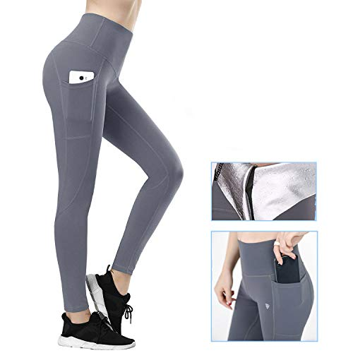 JOHNLOUISE Sauna Suit for Women,High Waisted Leggings for Women,Sweat Pants for Weight Loss Tummy Control (M)