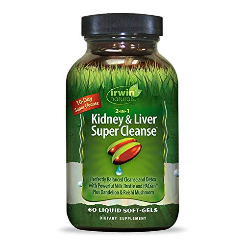 Irwin Naturals 2-in-1 Kidney + Liver Super Cleanse 10 Day Detox with Milk Thistle, Dandelion + Reishi Mushroom - Natural Kidney & Liver Support Supplement - 60 Liquid Softgels