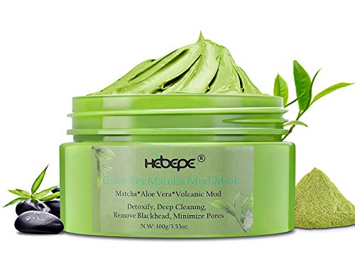 Hebepe Matcha Green Tea Detox Facial Mud Mask with Aloe Vera, Deep Cleaning, Hydrating, Detoxing, Healing, and Relaxing Volcanic Clay Face Mask, Pore Minimizer, Acne Clearing, and Blackhead Remover